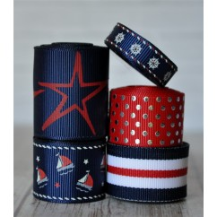 10 yards Navy Sailboats Ribbon Mix