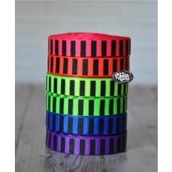 "5 yards 3/8"" Neon Colors Black Ink Barrel Stripe Printed Grosgrain Ribbon"