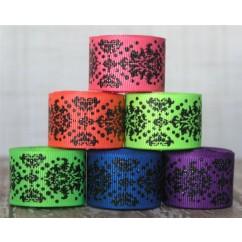"2 yards 7/8"" Neon & Black Glitter Dottie Damask Grosgrain Ribbon"