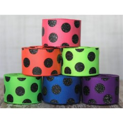 "2 yards 7/8"" Neon & Black Glitter Dots Grosgrain Ribbon"
