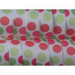 "5 yards 7/8"" Neon Funky Dot Print Grosgrain Ribbon"