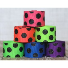 12 yards Neon & Black Glitter Dot Filler Mix