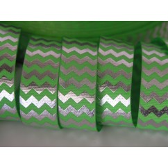 "5 yards 7/8"" Neon Green & Silver Foil Chevron Grosgrain Ribbon"