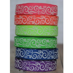 "5 yards 3/8"" Neon Scroll Print Grosgrain Ribbon"