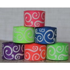 "5 yards 7/8"" White Neon Scroll Print Grosgrain Ribbon"