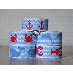 "5 yards 7/8"" Ocean Prints Grosgrain Ribbon"