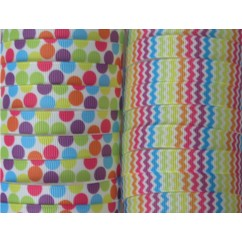 "5 yards 3/8"" Party Chevron & Dot Print Grosgrain Ribbon"