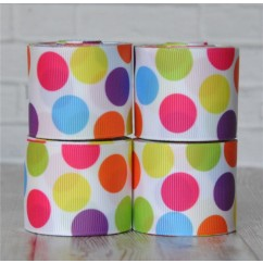 "5 yards 1.5"" Party Funky Dot Print Grosgrain Ribbon"