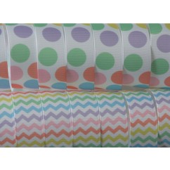 "5 yards 7/8"" Pastel Chevron & Dot Print Grosgrain Ribbon"