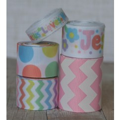 10 yards Pastel Jesus Loves Me Ribbon Mix
