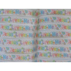 "3/8"" Pastel Jesus Loves Me Print Grosgrain Ribbon"