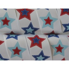 "5 yards 1.5"" Patchwork Star Print Grosgrain Ribbon"