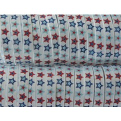 "5 yards 3/8"" Patchwork Star Print Grosgrain Ribbon"