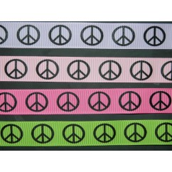 "3 yards 7/8"" Peace Sign Print Grosgrain Ribbon"