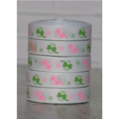 "5 yards 3/8"" Pink & Green Shamrock Print Grosgrain Ribbon"