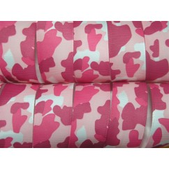 "5 yards 1"" Pink Camouflage Camo Print Grosgrain Ribbon"