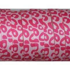 "3/8"" Pink Cheetah Print Grosgrain Ribbon"