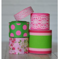 10 yards Pink Flowers & Lace Ribbon Mix