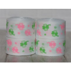 "5 yards 1"" Pink & Green Shamrock Print Grosgrain Ribbon"