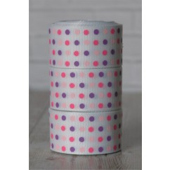 "5 yards 1"" Pink & Purple Swiss Dots Print Grosgrain Ribbon"
