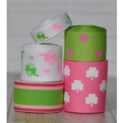 10 yards Pretty Pink Shamrock Ribbon Mix