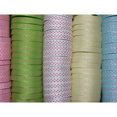 "5 yards 3/8"" Pink Tiny Swiss Dot Grosgrain Ribbon"