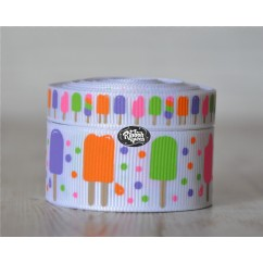 5 yards White Popsicles Print Grosgrain Ribbon