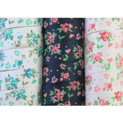 "5 yards 1"" Pretty Pansies Print Grosgrain Ribbon"