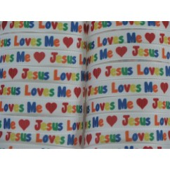 "3/8"" Jesus Loves Me Print Grosgrain Ribbon"