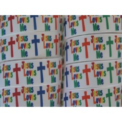 "7/8"" Jesus Loves Me Print Grosgrain Ribbon"
