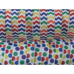 "50 yards 3/8"" Rainbow Chevron & Dot Print Grosgrain Ribbon"