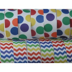 "5 yards 7/8"" Rainbow Chevron & Dot Print Grosgrain Ribbon"