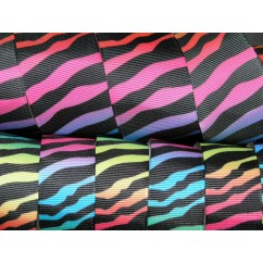"5 yards  1"" & 1.5"" Rainbow Zebra Print Grosgrain Ribbon"