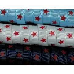 "5 yards 3/8"" Red Star Print Grosgrain Ribbon"