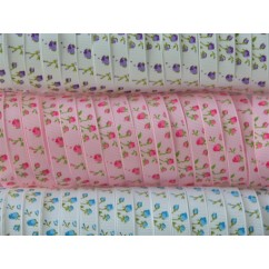 "3/8"" Rose Print Grosgrain Ribbon"