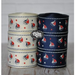 "5 yards 1"" Nautical Sailboats Print Grosgrain Ribbon"