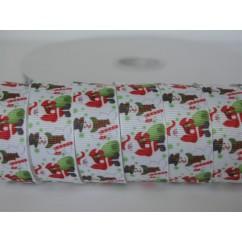 "5 yards 7/8"" Traditional Santa & Snowman Print Grosgrain Ribbon"