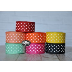 "5 yards 7/8"" Schiff Swiss Dot Grosgrain Ribbon"