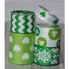 10 yards Shamrock Dots Ribbon Mix