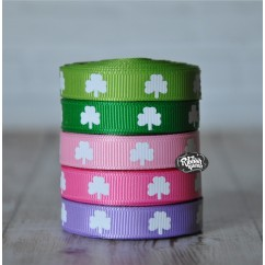 "5 yards 3/8"" Colored Shamrock Print Grosgrain Ribbon"