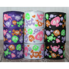 "5 yards 7/8"" Silly Skulls Print Grosgrain Ribbon"