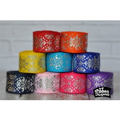 "5 yards 7/8"" Silver Foil Dottie Damask Print Grosgrain Ribbon"