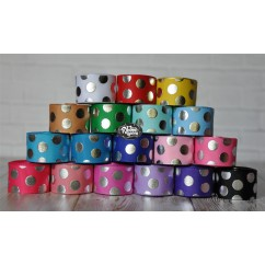 "5 yards 7/8"" Silver Foil Funky Dot Grosgrain Ribbon"