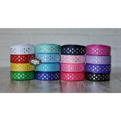 "5 yards 3/8"" Silver Foil Tiny Swiss Dots Grosgrain Ribbon"