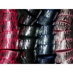 "5 yards 1"" Silver Foil Zebra Print Grosgrain Ribbon"