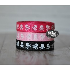 "5 yards 3/8"" Tiny White Skull Print Grosgrain Ribbon"