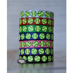 "5 yards 3/8"" Softball Print Grosgrain Ribbon"