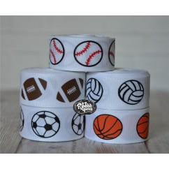 "5 yards 7/8"" Sports Print Grosgrain Ribbon"