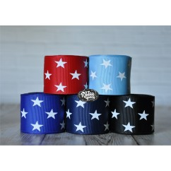 "5 yards 1.5"" White Star Print Grosgrain Ribbon"