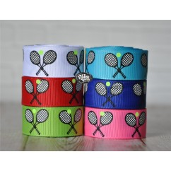 "5 yards 7/8"" Tennis Rackets and Ball Print Grosgrain Ribbon"